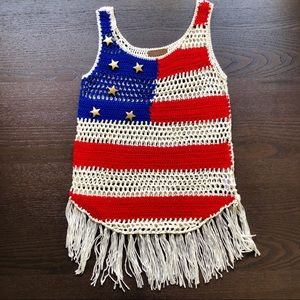 Crochet American Flag Top with Fringe and Stars